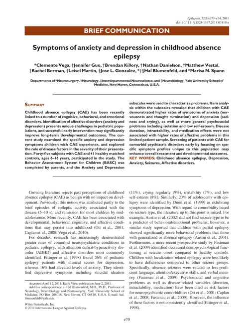 Symptoms of anxiety and depression in childhood absence epilepsy