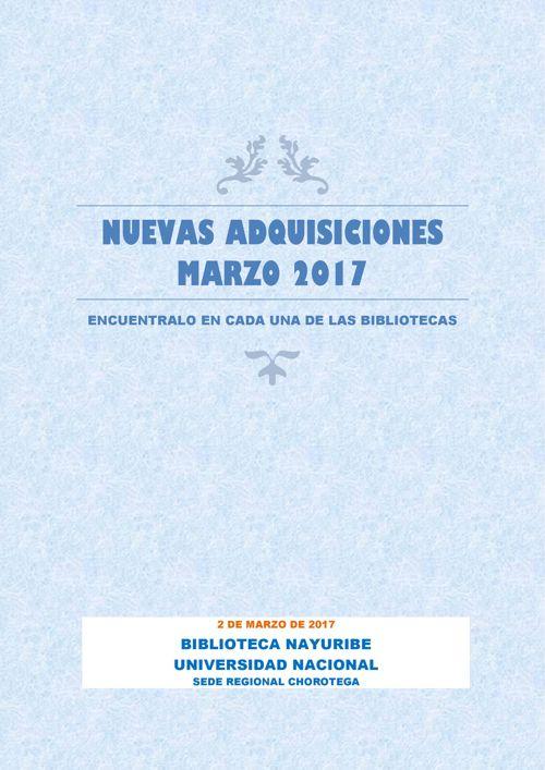 LIBROS NUEVOS PORTADAS MARZO 2017-BIBLIOTECA NAYURIBE