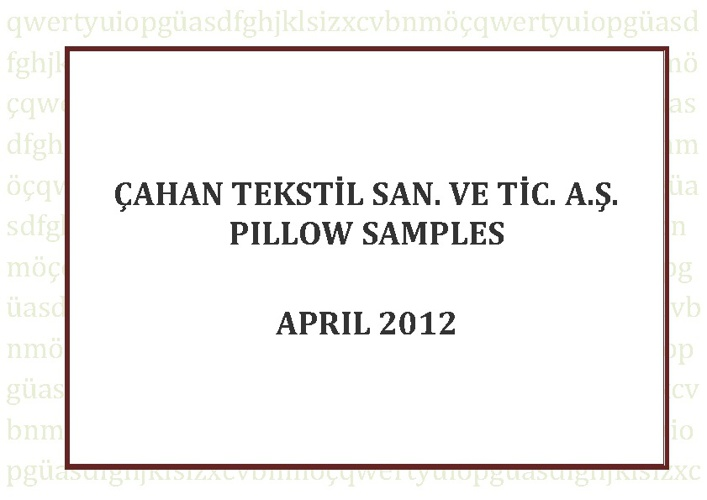 Çahan Textile A.Ş   Pillow