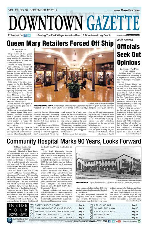 Downtown Gazette     September 12, 2014