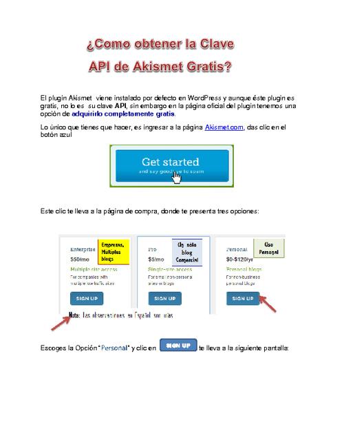 Como Obtener la Clave API de Akismet GRATIS