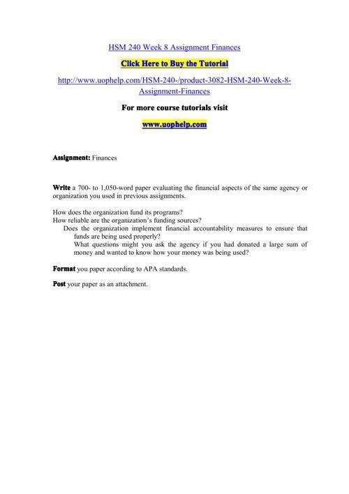 HSM 240 Week 8 Assignment Finances