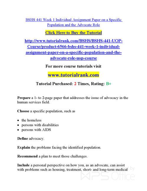 BSHS 441  Course Success Begins / tutorialrank.com