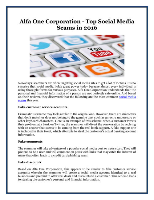 Alfa One Corporation - Top Social Media Scams in 2016