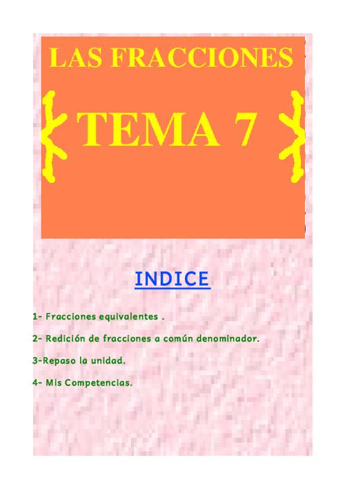 LAS FRACCIONES TEMA 7