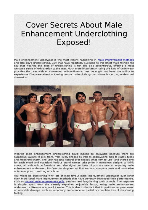 Cover Secrets About Male Enhancement Underclothing Exposed