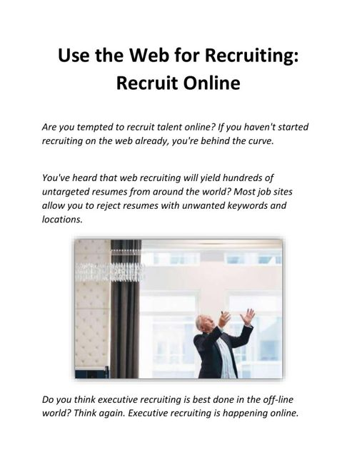Use the Web for Recruiting