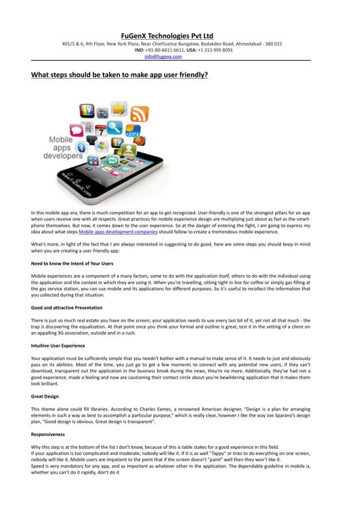 What steps should be taken to make app user friendly