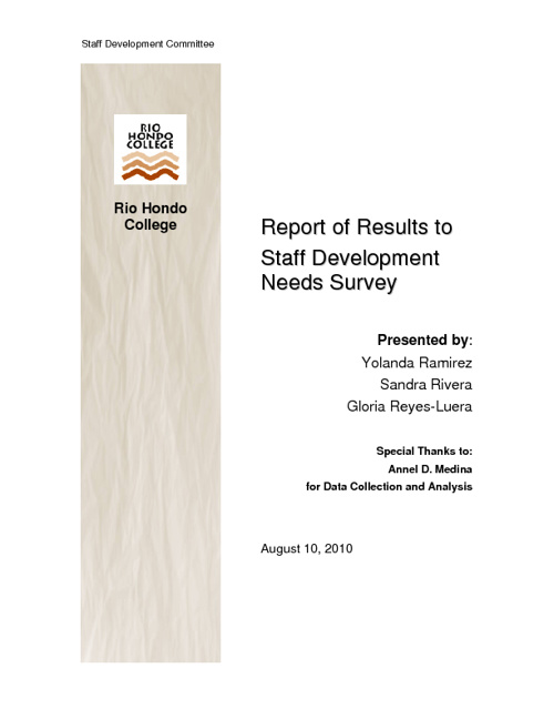 Results Report of Staff Development Survey