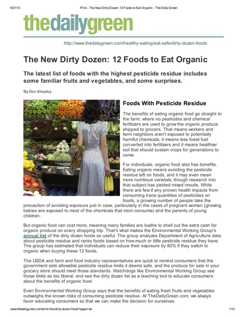 The New Dirty Dozen_ 12 Foods to Eat Organic - The Daily Green