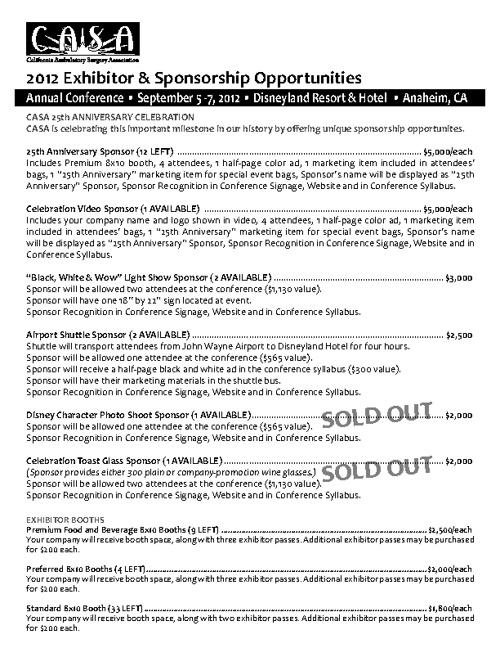 2012 CASA Sponsorship Opportunites