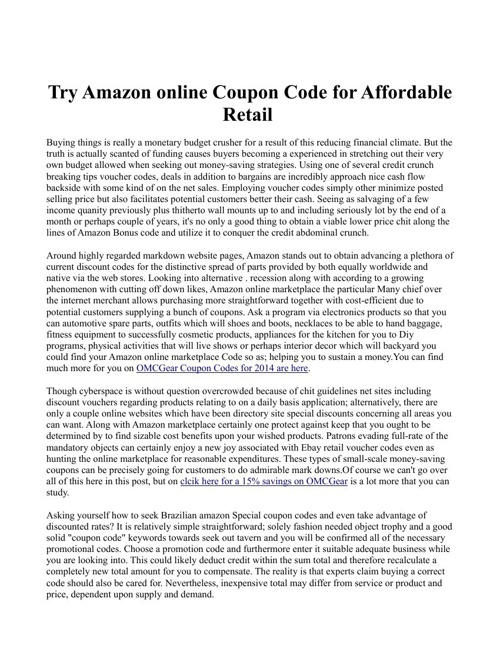 Try Amazon online Coupon Code for Affordable Retail