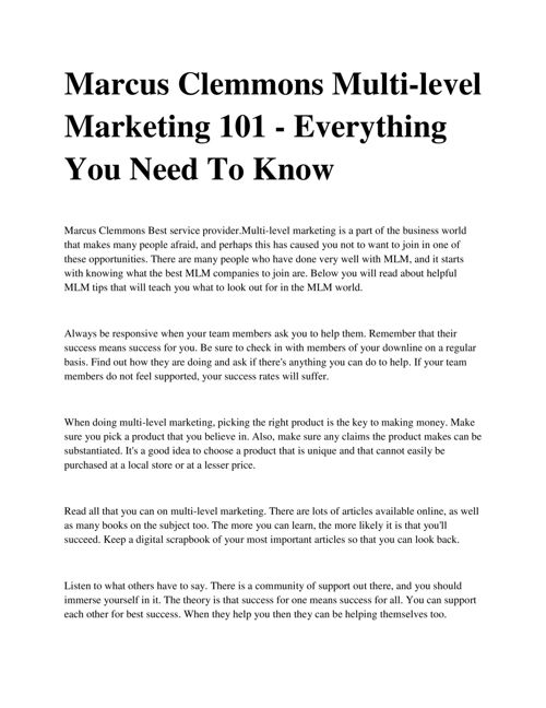 Marcus Clemmons Multi-level Marketing 101 - Everything You Need