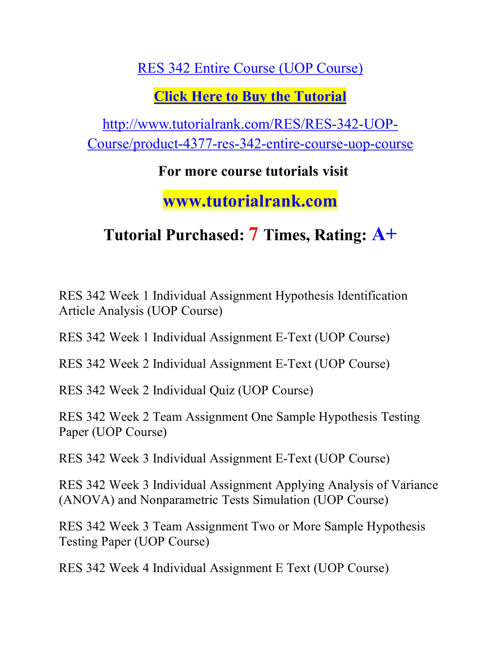 RES 342 Course Success Begins/tutorialrank.com