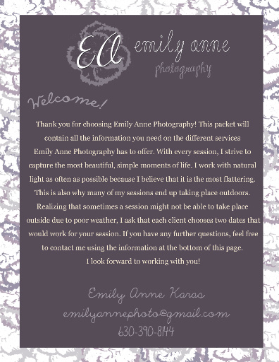 Emily Anne Photography Information Packet
