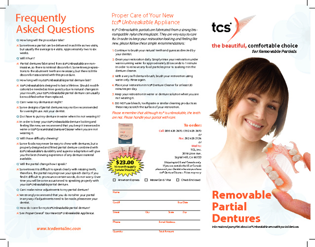 tcs® Unbreakable Pat. Education Brochure