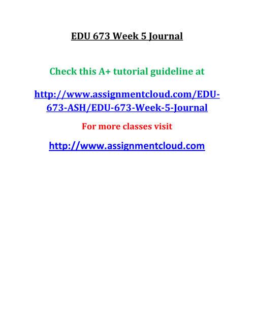 EDU 673 Week 5 Journal