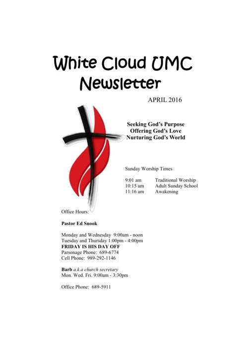 April Newsletter 2016