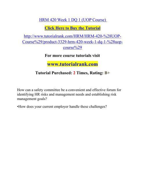 HRM 420 Potential Instructors / tutorialrank.com