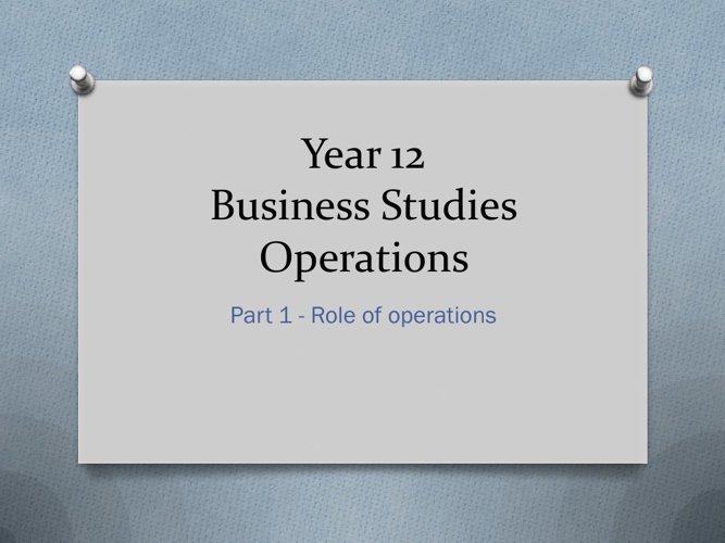 Role of Operations