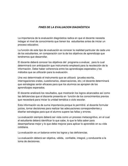 FINES DE LA EVALUACION DIAGNÓSTICA LULÚ