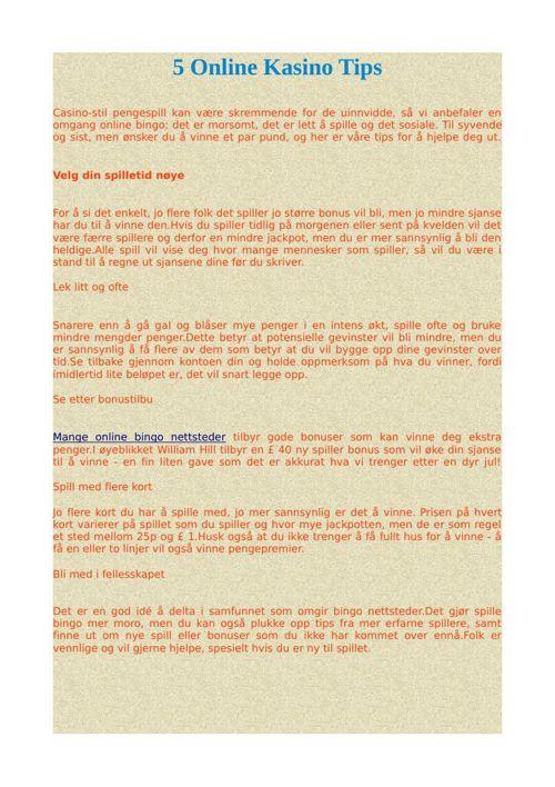 5 Online Kasino Tips