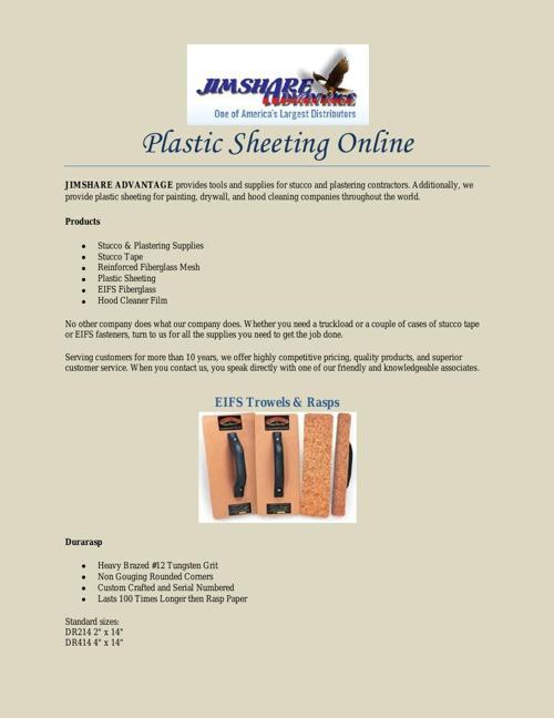 Plastic Sheeting Online