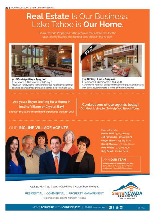 SNP Ad in the Tahoe Bonanza July 14