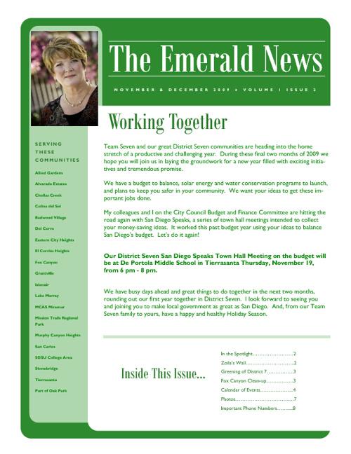 The Emerald News: Volume 1, Issue 2 (November/December 2009)