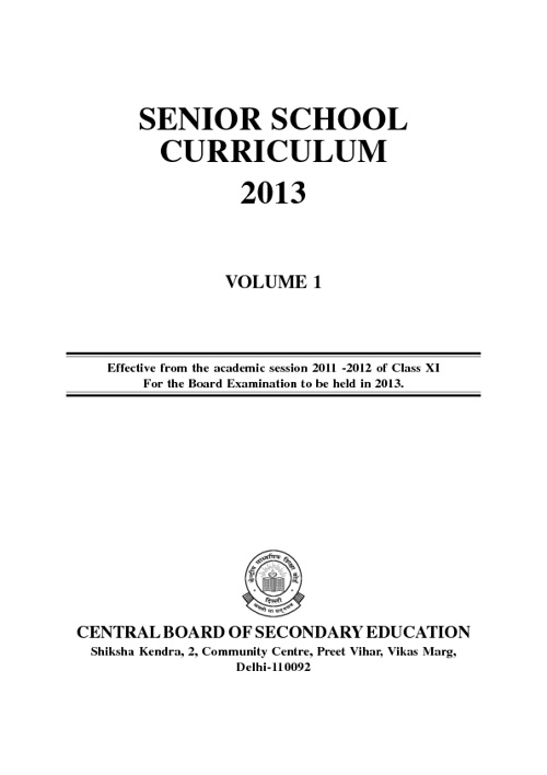 CBSE Curriculum 2013 Senior Sec