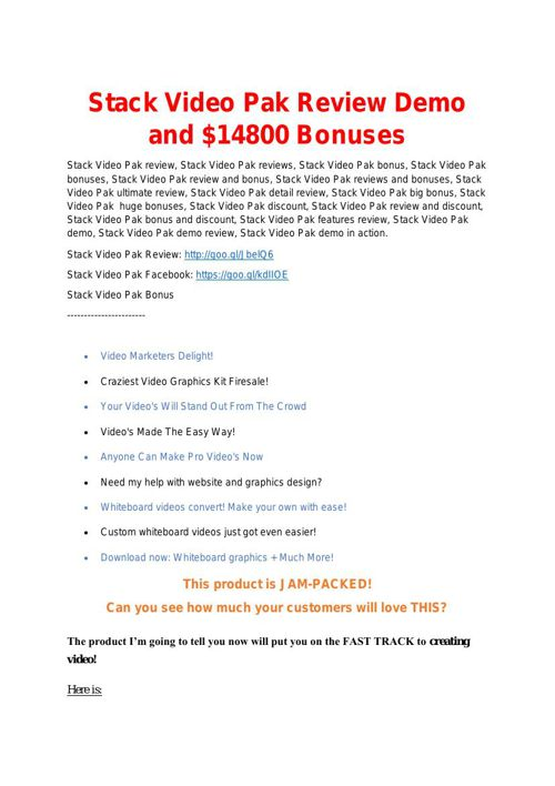 Stack Video Pak review-Stack Video Pak(MEGA) $23,800 bonuses