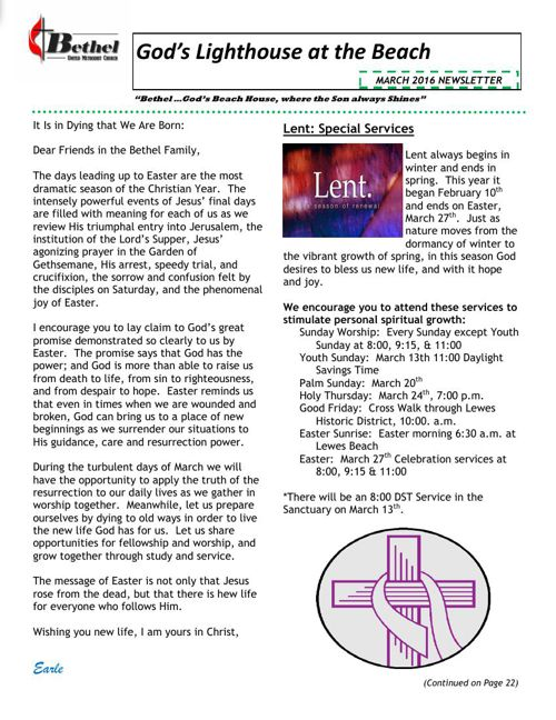 Bethel March 2016 Newsletter