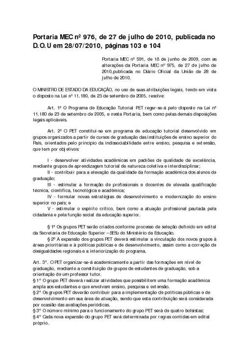 Portaria MEC nº 976, de 27 de julho de 2010, publicada no D.O.U