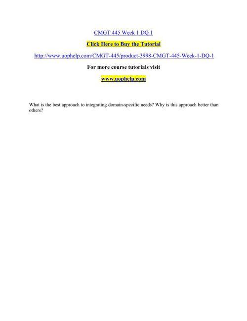 CMGT 445 Academic Achievement/uophelp