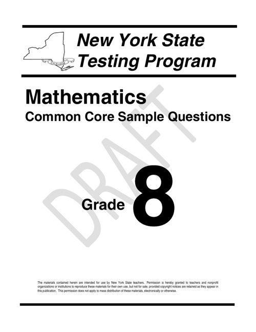 8th Grade Sample State Assessment Questions