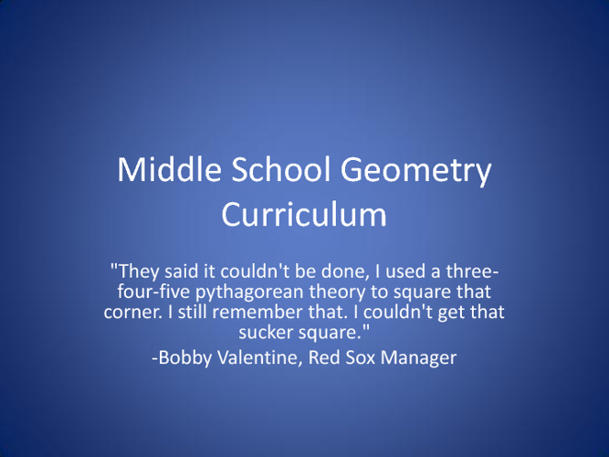 Middle School Geometry Curriculum