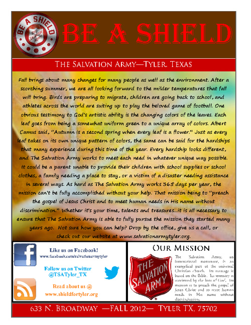 The Salvation Army Fall 2012 Newsletter