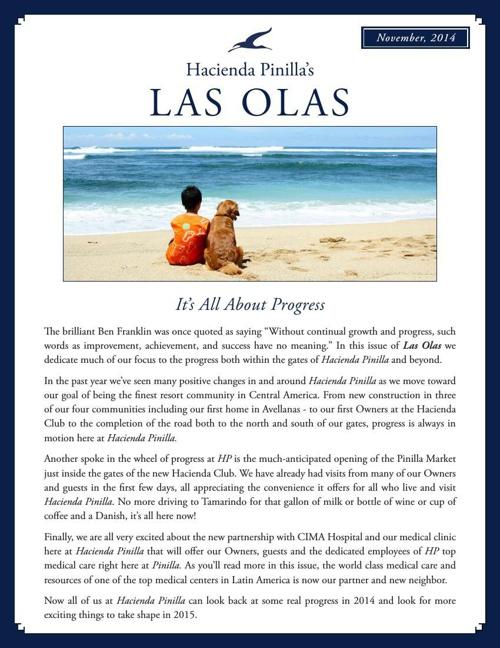 Hacienda Pinilla Newsletter - November