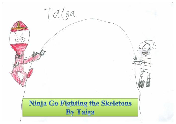 Ninja Go Fighting the Skeletons