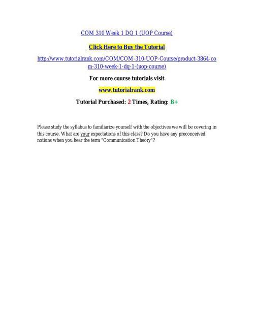 COM 310 learning consultant / tutorialrank.com