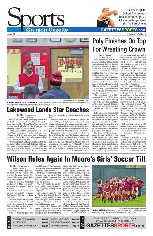 Gazette Sports   February 7, 2013