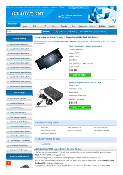 ASUS ZenBook UX31 Battery - lvbattery.net