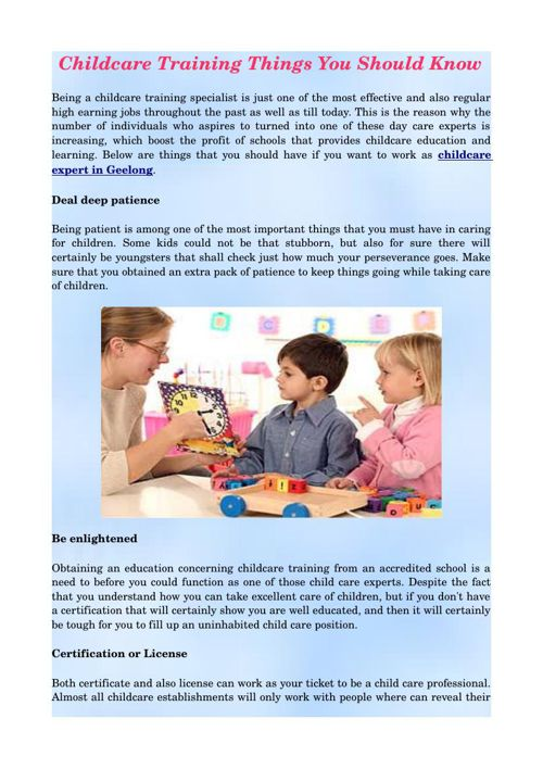 Childcare Training Things You Should Know