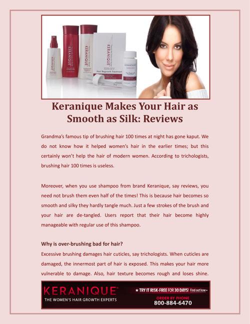 Keranique Makes Your Hair as Smooth as Silk Reviews