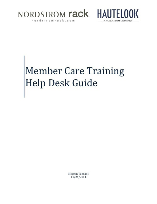 Member Care Training - Help Desk Guide
