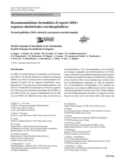 Urgences obstétricales extrahospitalières: Recommandations des e