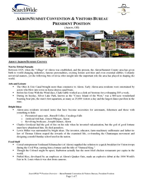 Akron/Summit Convention & Visitors Bureau Position Overview