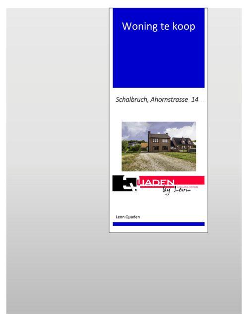 Quaden Makelaars presentatieboekje Schalbruch, Ahornstrasse 14