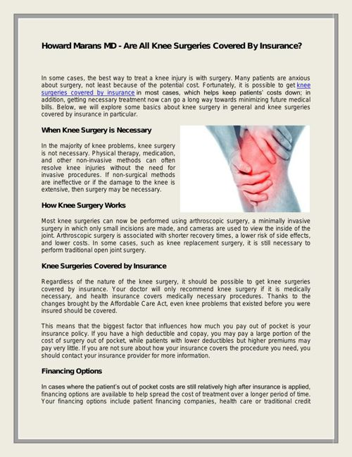 Howard Marans MD: Are All Knee Surgeries Covered By Insurance?