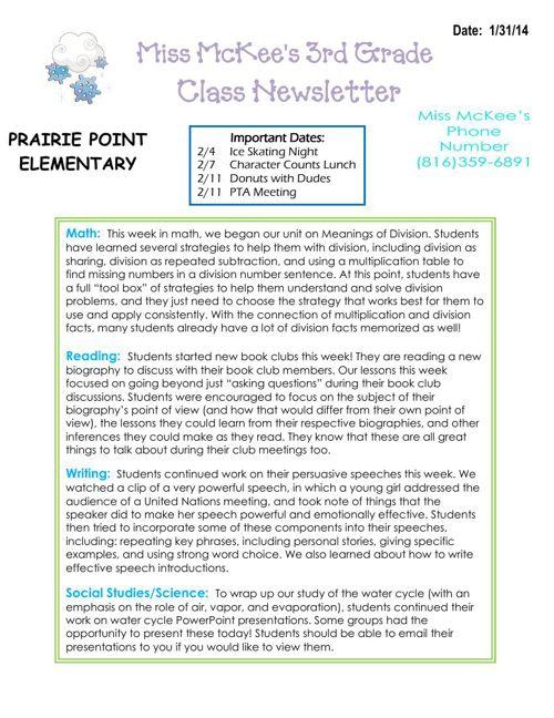 Newsletter 1-31-14